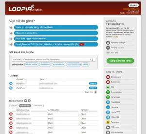 Loopia kontrollpanel