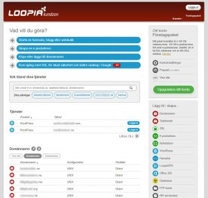 Loopias kontrollpanel